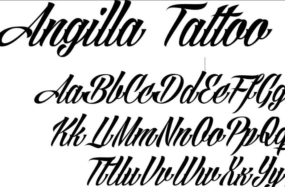 Angilla Tattoo Font View